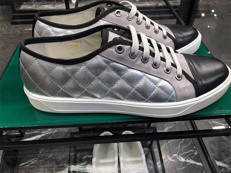 Metallic quilting on sneakers