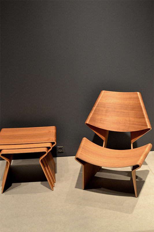 Stackable angular wooden chair and side tables