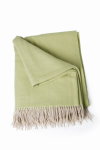 Pistachio coloured 100% wool throw