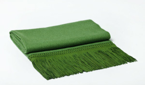 The woven suede detail makes this cashmere throw even more luxurious